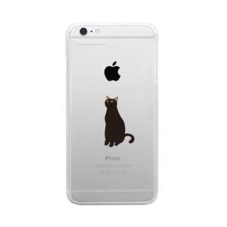 黒にゃー Clear smartphone cases
