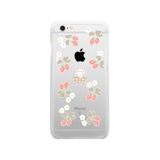 いちごとうさぎ Clear smartphone cases