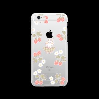 *momochy shop*のいちごとうさぎ Clear smartphone cases