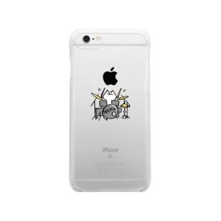 ねこドラム Clear smartphone cases