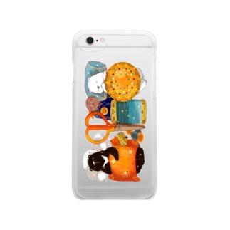 くまの裁縫箱 Clear smartphone cases