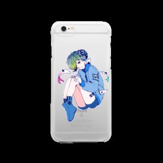 煩悩片栗粉の青い子 Clear smartphone cases