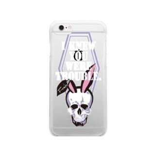 うさ耳スカル Clear smartphone cases