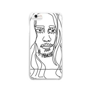 落書きアートフェイスプリント Clear smartphone cases