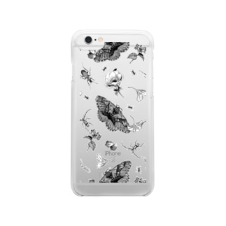 イボタガスマホケース ブラック Clear smartphone cases