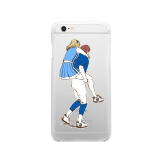 A cheer girl & a American football boy. Clear smartphone cases
