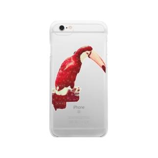 白い花柄の赤いオニオオハシ Clear smartphone cases