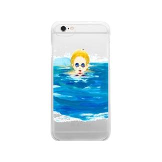 真夜中の手がみのin the pool clear Clear smartphone cases