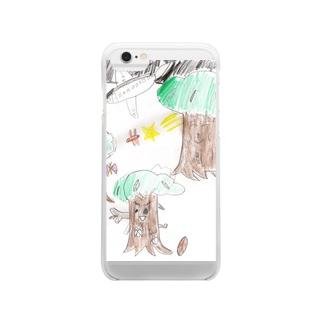 夏の夜の森 Clear smartphone cases