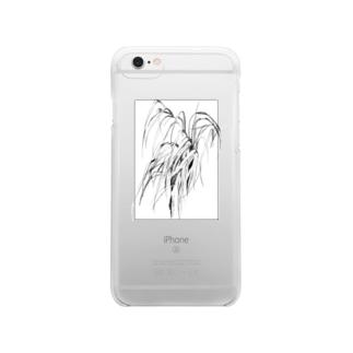 草の絵 Clear smartphone cases
