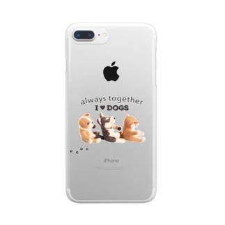 I ♥ dogs 柴犬 シベリアンハスキー ブルドッグの 仲良しトリオ(黒文字Ver.)  クリアスマートフォンケース