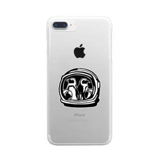 ケープペンギン ミーツアストロノーツ モノクロ Clear smartphone cases