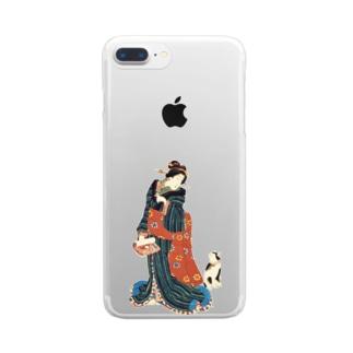 美女の言いつけを聞く猫 Clear smartphone cases