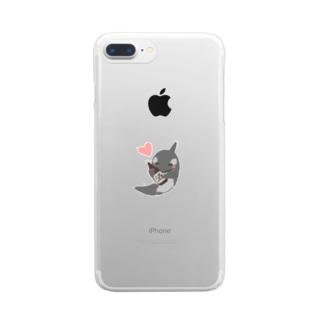のんべえのシャチ、しゃちべえ Clear smartphone cases