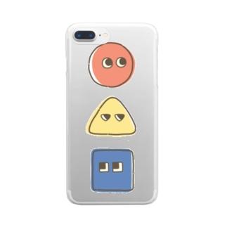 まるさんかくしかく Clear smartphone cases