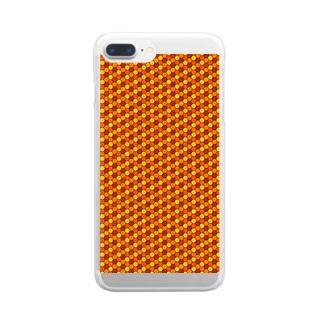 幾何学模様(オレンジ) Clear smartphone cases
