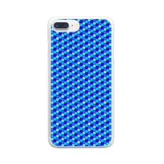 幾何学模様(ブルー) クリアスマートフォンケース