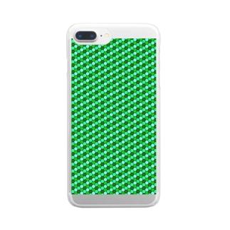 幾何学模様(グリーン) Clear smartphone cases