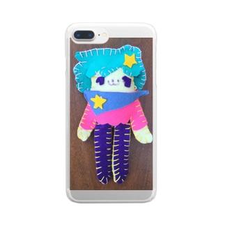 星のスカーフカロロぬいぐるみ Clear smartphone cases