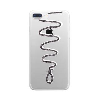 くびつりなわ(白黒) クリアスマートフォンケース