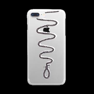 MOGUMO SHOPのくびつりなわ(白黒) Clear smartphone cases