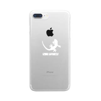 ヤモリ シルエット ロゴ  ( ホワイト ) Clear smartphone cases