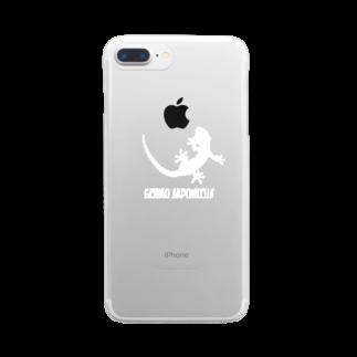 motchamのヤモリ シルエット ロゴ  ( ホワイト ) Clear smartphone cases