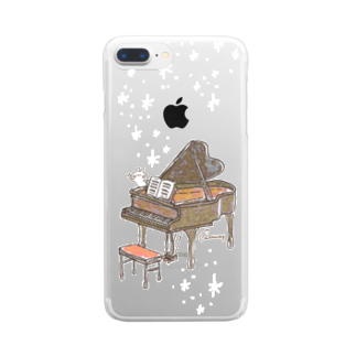 *momochy shop*のピアノとうさぎ Clear smartphone cases