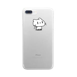 どどねこ-おすわり- Clear smartphone cases