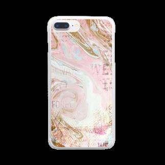 KIRARI-2のマーブルプラス☆ピンク Clear smartphone cases
