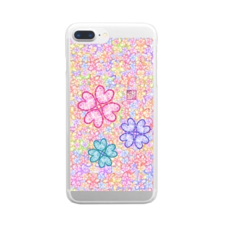 「花籠」Series * sakura-jewels blue Clear smartphone cases