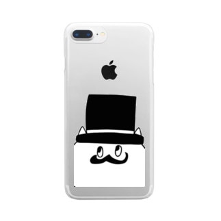 gentleman cat - big face clear case! - Clear smartphone cases