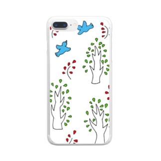 青い鳥と木 クリアスマートフォンケース