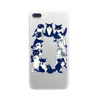 白黒猫会議 Clear smartphone cases