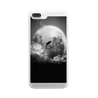 月とイルカ Clear smartphone cases