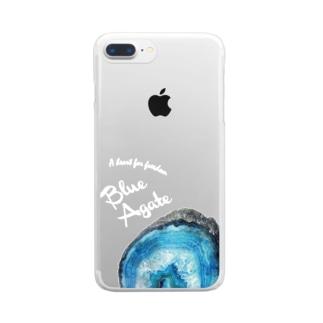 青瑪瑙|鉱物といっしょ Clear smartphone cases