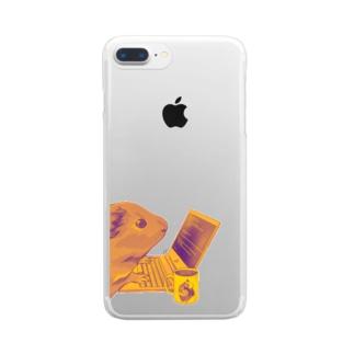 ノマドワーカーなモルモット(ゴールド) Clear smartphone cases