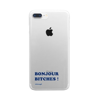 Bonjour Bitches (文字色ネイビー) Clear smartphone cases