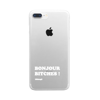 Bonjour Bitches (文字色ホワイト) Clear smartphone cases