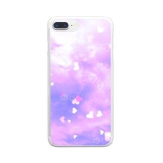 ピンクハート Clear smartphone cases