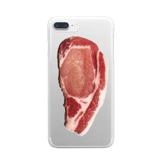 豚ロース Clear smartphone cases