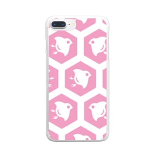 ウォレットケース専用デザイン 千鳥ピンク Clear smartphone cases