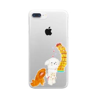 マルチーズのシェリーとプードルのガジュマル Clear smartphone cases