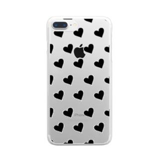 黒いハート Clear smartphone cases