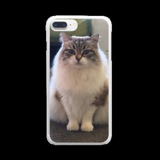 神戸元町‐猫カフェNyannyのポコ♀サイベリアン クリアスマートフォンケース