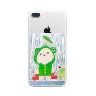 シェリーと雨とカエル Clear smartphone cases