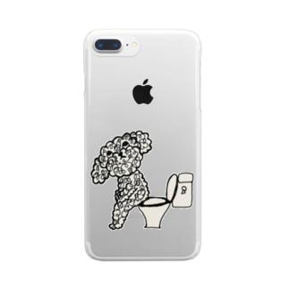 プードル モジャ男 Clear smartphone cases