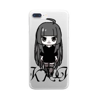 きくこモノクロシリーズ Clear smartphone cases