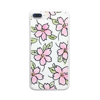cherry blossom 桜 Clear smartphone cases