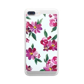 ヴィンテージピンクフラワー Clear smartphone cases